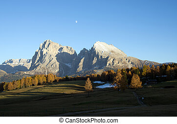 dolomites at sunset - a view of the dolomites from the Alpe...