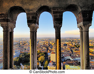 Cremona, view from cathedral tower, Lombardy, Italy - Photo...