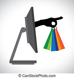 Buying/shopping online using a technology(PC). The graphic...