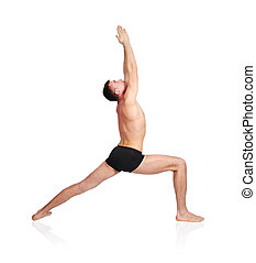 man practicing yoga in position