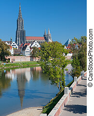 View on Ulm in september - View on buildings of Ulm on the...