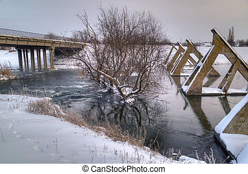old abandoned bridge, winter scenery