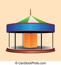 Roundabout - Balagan round whirligig for children. Vector...