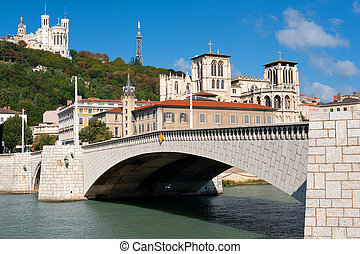 Lyon and Saone river in summer - Clasical view on Lyon over...
