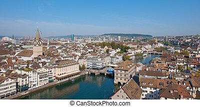 Rooftops of Zurich, Switzerland. GPS information is in the...