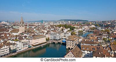 Rooftops of Zurich, Switzerland. GPS information is in the...