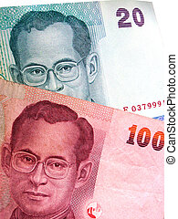 thai baht - close up picture of thailand bank notes with...