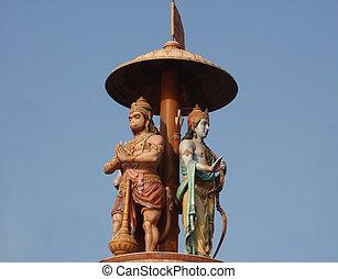 rama and hanuman india - lord rama and hanuman statue in...