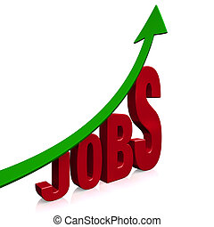 Dramatic Job Growth - A dramatically upward trending green...