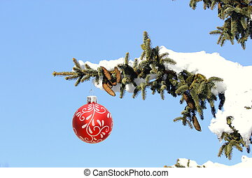 christmas tree full of snow - branch of a christmas tree...