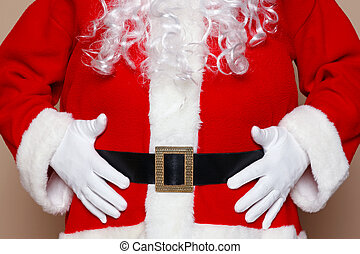 Santa Claus holding his belly