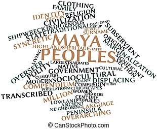 Maya peoples - Abstract word cloud for Maya peoples with...