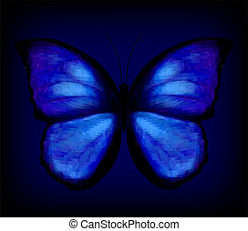 Blue butterfly. Vector