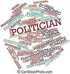 palabra, nube, político