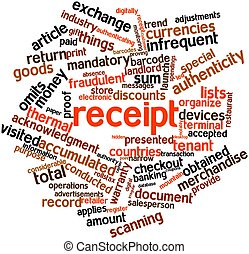 Receipt - Abstract word cloud for Receipt with related tags...