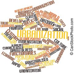 Urbanization - Abstract word cloud for Urbanization with...