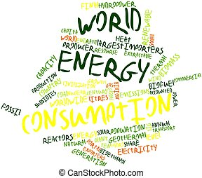 World energy consumption - Abstract word cloud for World...
