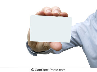 card in hand - Man hand holding a blank business card