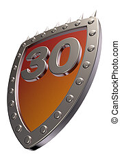 number on metal shield - shield with the number thirty - 30...