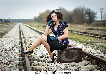 Lonely girl waiting for train - Girl waiting for train