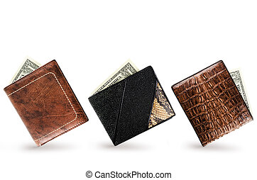 Wallets - Three Wallets With One Dollar Banknote In Each