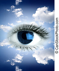 Blue eye - Beautiful big blue eye in sky