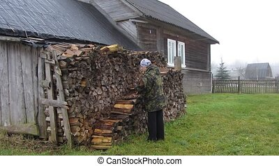 woman carrying firewood - village,  woman carries firewood