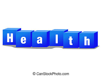 Health bricks - Health concept illustration with text and...