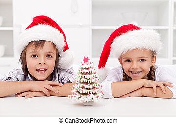 pan de jengibre, niños, árbol, navidad, tiempo