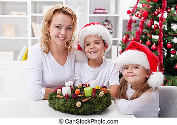 Christmas time - family with advent wreath