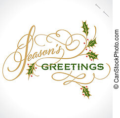 SEASON'S GREETINGS hand lettering - handmade calligraphy,...