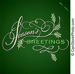 SEASONS GREETINGS vector - SEASONS GREETINGS hand lettering...