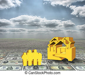 A 3D concept house and family on money with cloudy sky background