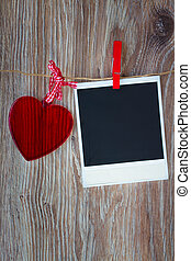 instant photo and heart - Blank instant photo and red glass...