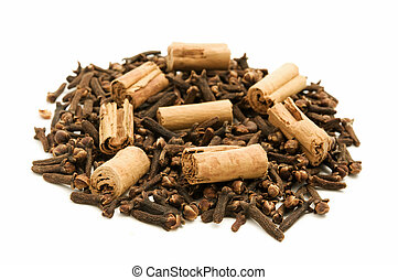 Cloves and Cinnamon on a white background
