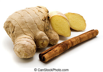 Ginger and Cinnamon - Ginger Zingiber officinale and...