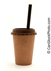 Cup with a straw - Brown plastic cup with a straw on a white...
