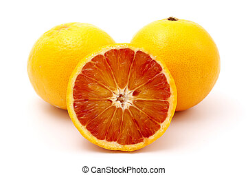 Blood oranges on a white background