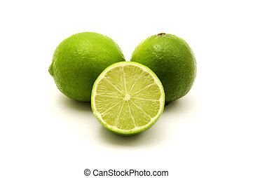 Persian lime on a white background