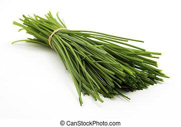 Bunch of chives on a white background