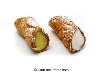Sicilian traditional pastry on a white background