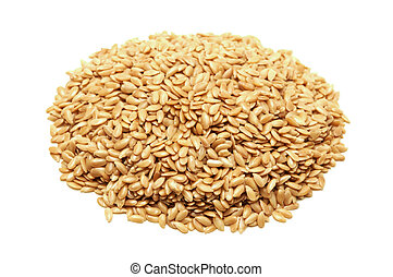 Golden flaxseeds - Golden flax seeds on a white background