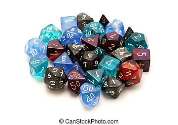 Role-playing dices on a white background