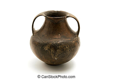 Etruscan Pottery - Ancient etruscan pottery on a white...