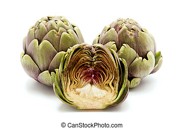 Artichokes on a white background