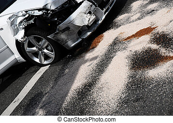 Car Accident Aftermath - A white care after an accident on a...