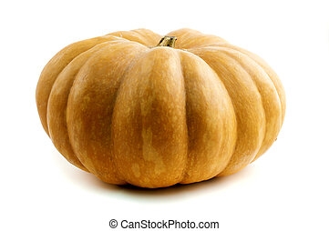 Long Island Cheese Pumpkin on a white background