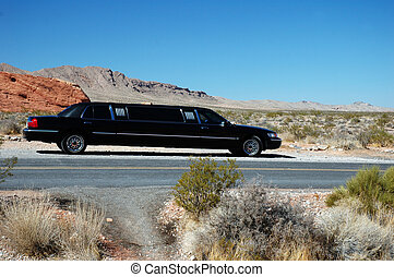 Black Desert Limousine - A black limo travels parks in the...