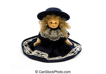 Old porcelain doll on a white background