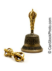 Vajra and Bell on a white background